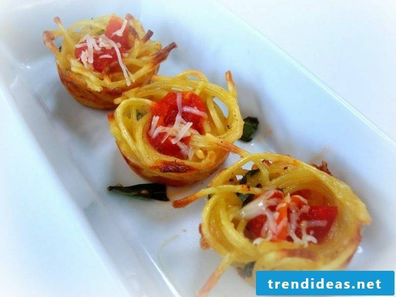 Baking for kids birthday appetizers with spaghetti and mozarella