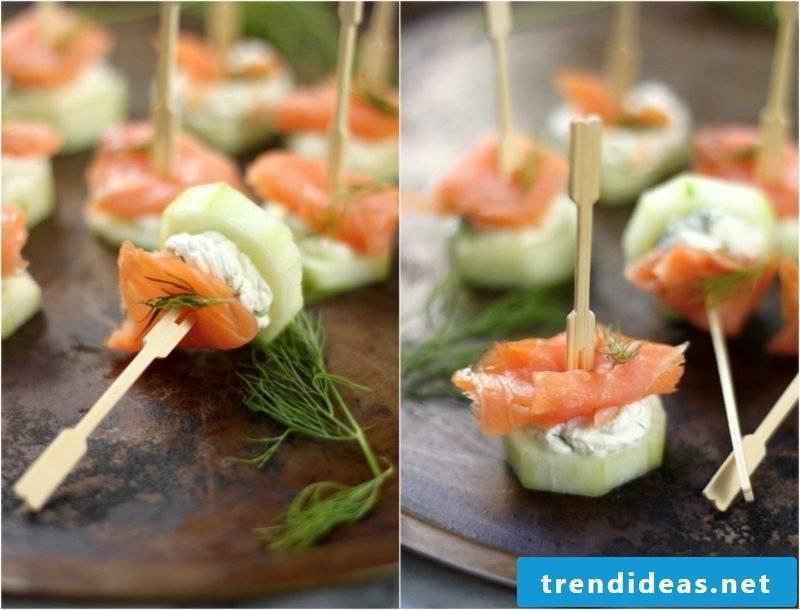 Food for kids birthday Fingefood salmon cucumber mozarella