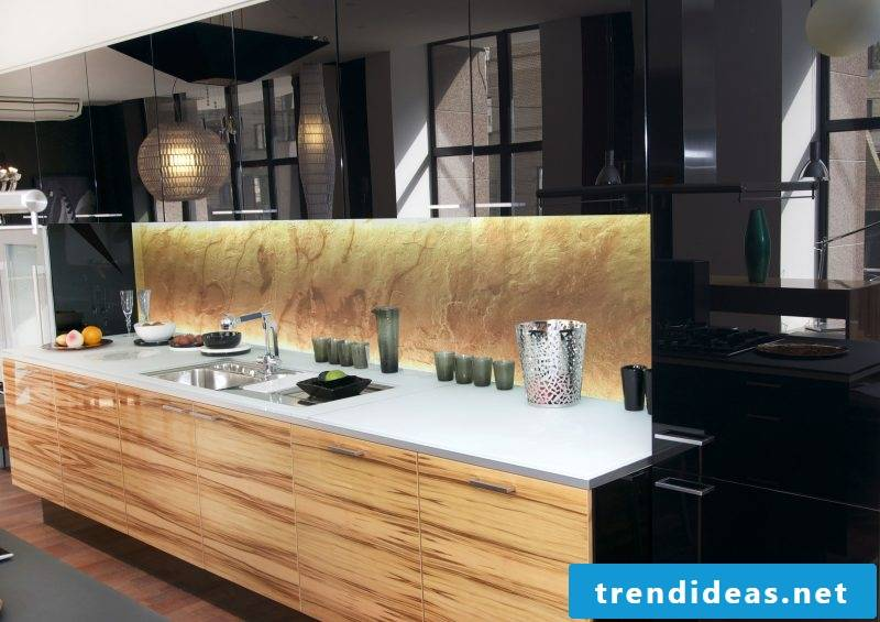 Kitchen back wall favorably designed with stone look