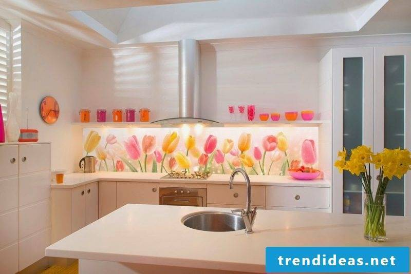 Kitchen back wall favorably designed with flowers