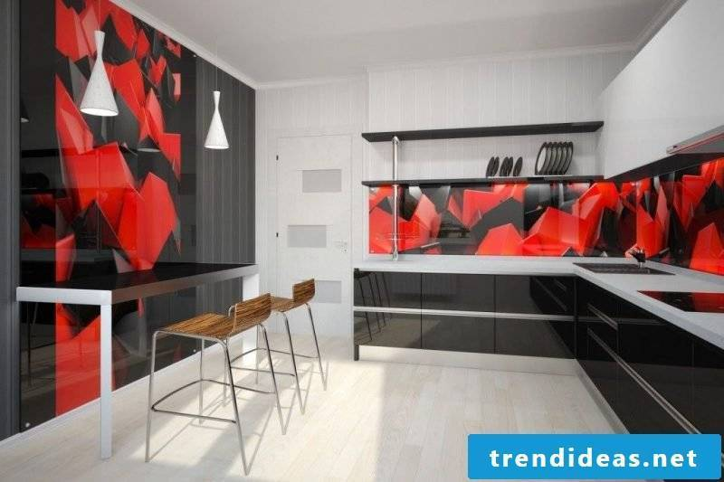 Kitchen back wall favorably with own motive design