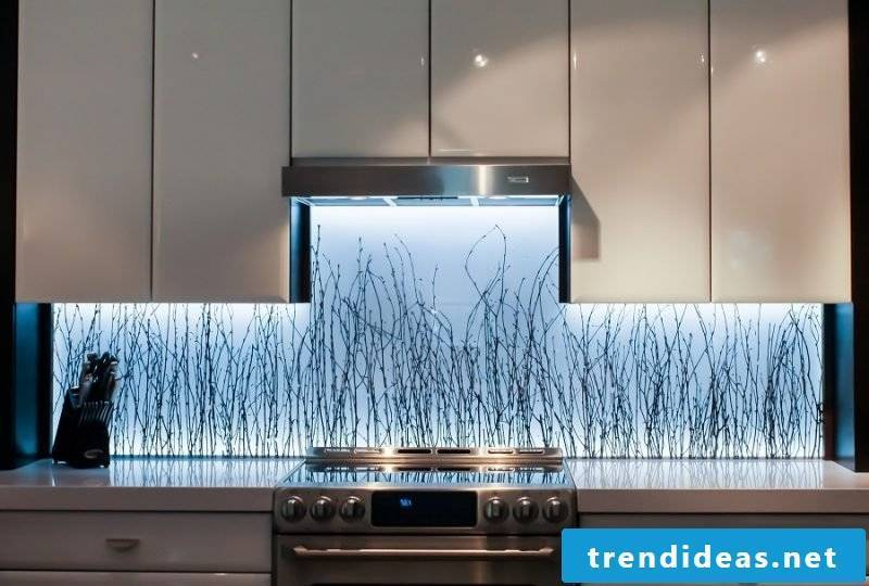 Kitchen back wall favorably with photo and LED lighting design