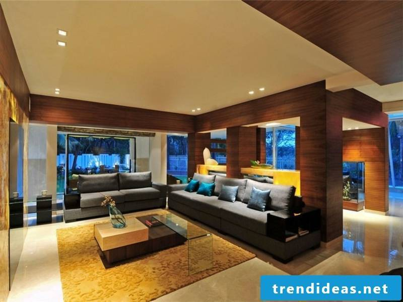 Led spots in the living room furniture