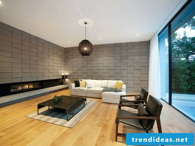 Hanging lamp and glass fireplace in the living room furniture