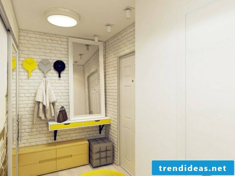 Hallway design set yellow accents