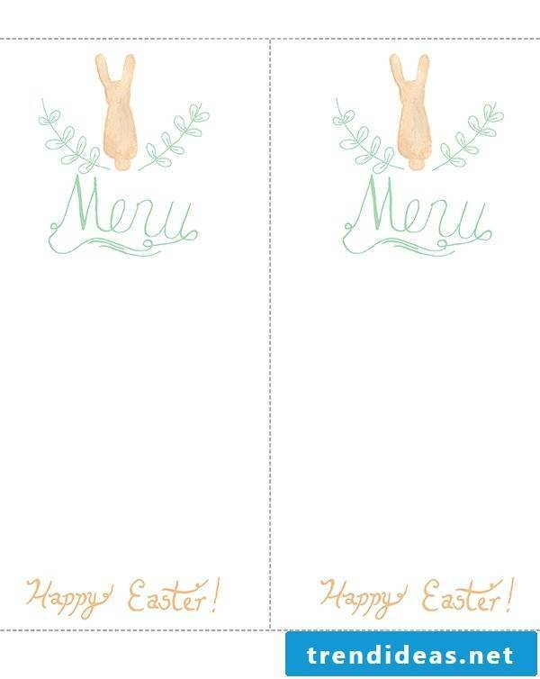 Creative idea for table decoration for Easter: menu card template for printing