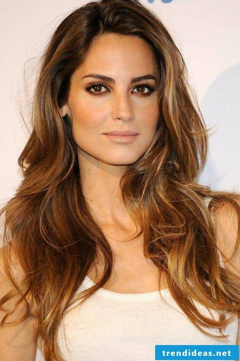Hair color light brown with blond strands