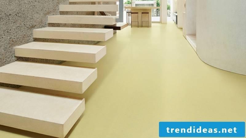 linoleum floor in pale yellow