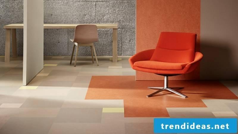Modular linoleum floor sand orange