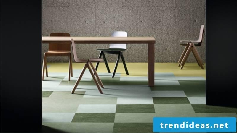 Linoleum floor in green as a geometric pattern