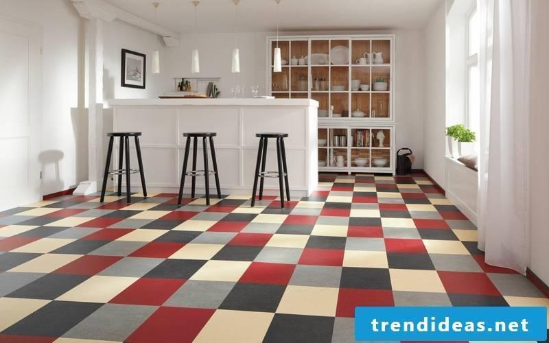 linoleum floor kitchen area