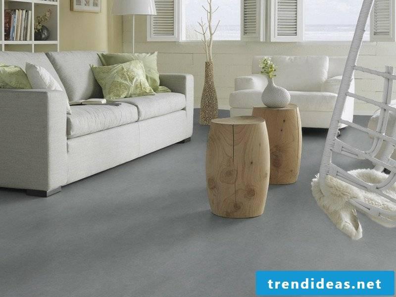 linoleum floor in gray and sofa
