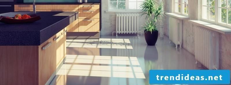 linoleum floor in the kitchen