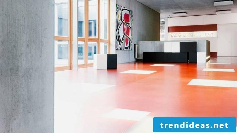 linoleum floor orange white