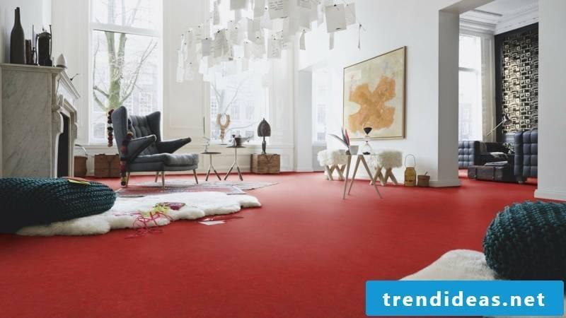 linoleum floor in bright red