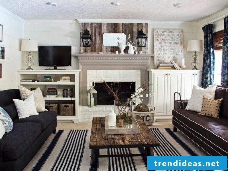 Living room style country style contrasting colors fireplace