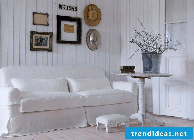 Living room design Country style color scheme white elegantly stylish