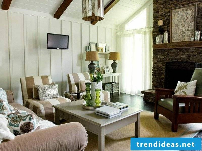 Living room style long house style neutral colors accent wall wood