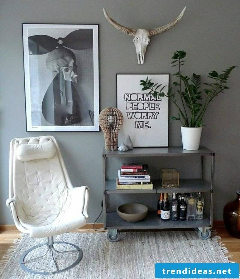 Living room decorate gray wall paint decorations Scandinavian style