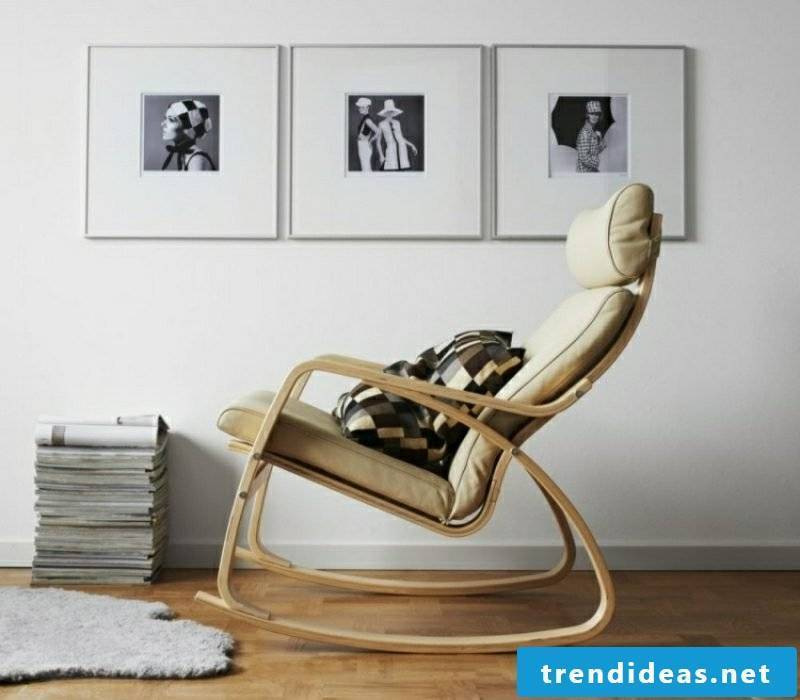 Living room design Scandinavian furnishing style rocking chair parquet floor
