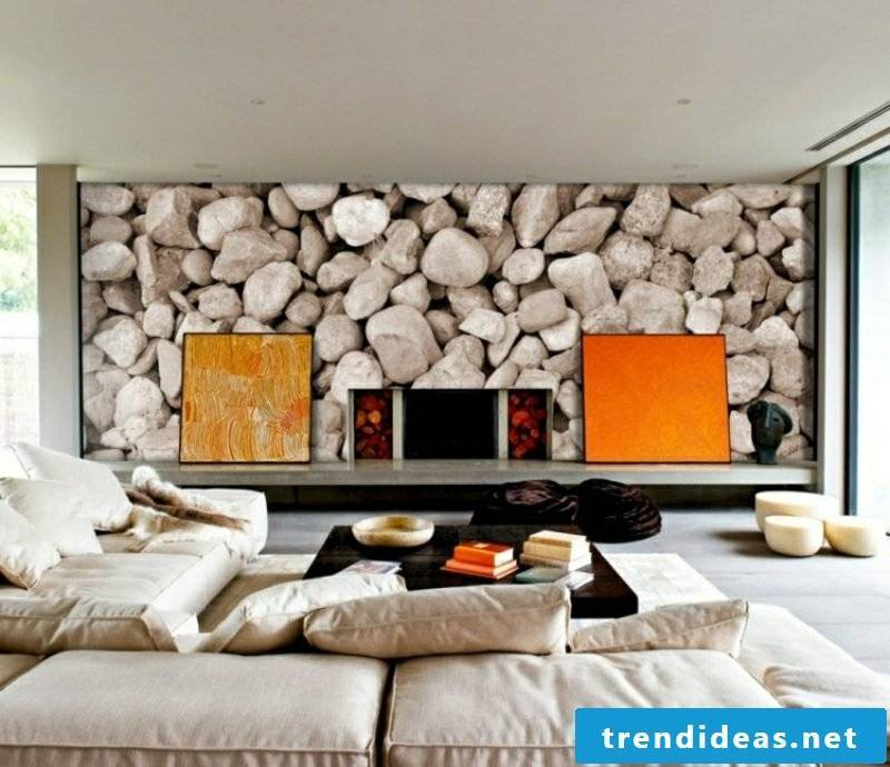 Living room design scandinavian accent wall mural stones