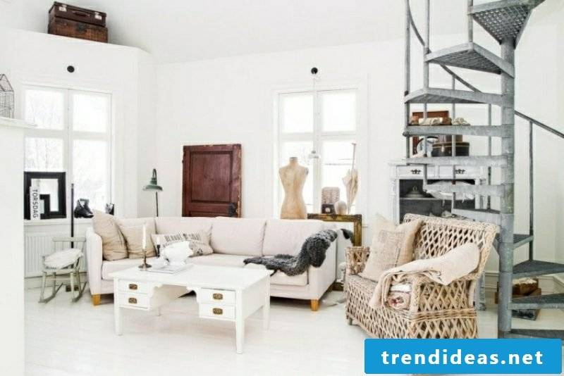 Living rooms create neutral colors of Scandinavian style