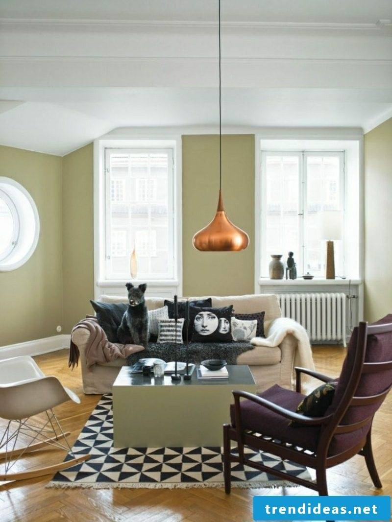 Living room design Scandinavian style pastel colors original lamp