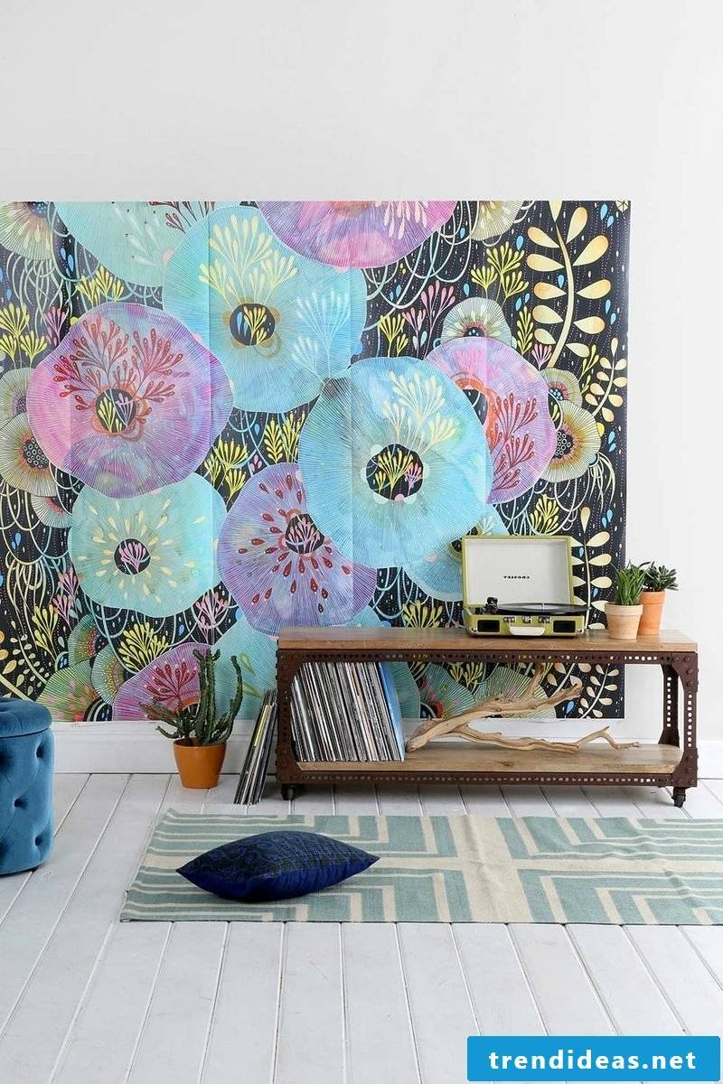 colorful wall decoration in the living room