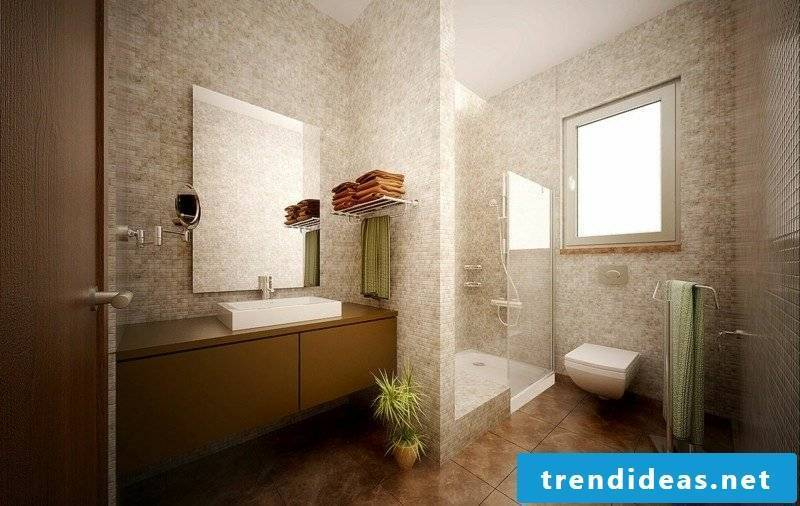 Luxury bathroom in beige and brown mosaic tile glass shower cabin