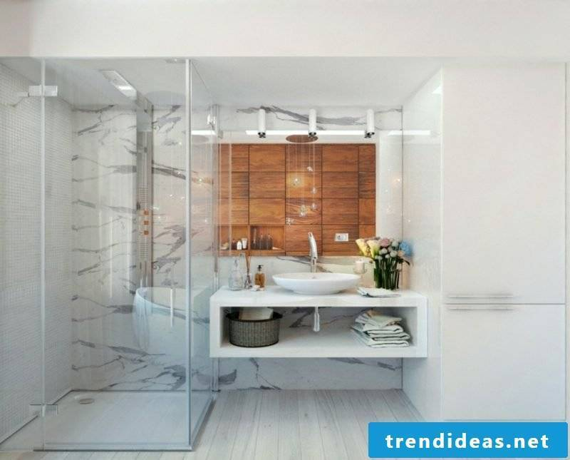 Luxury bathroom marble tile accent wall wood panels