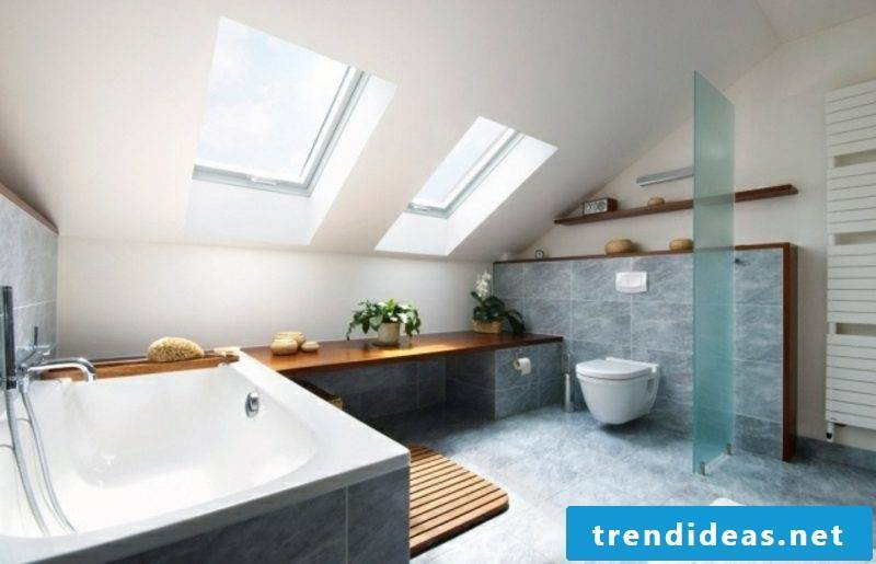 Luxury bathroom with sloping roof modern design