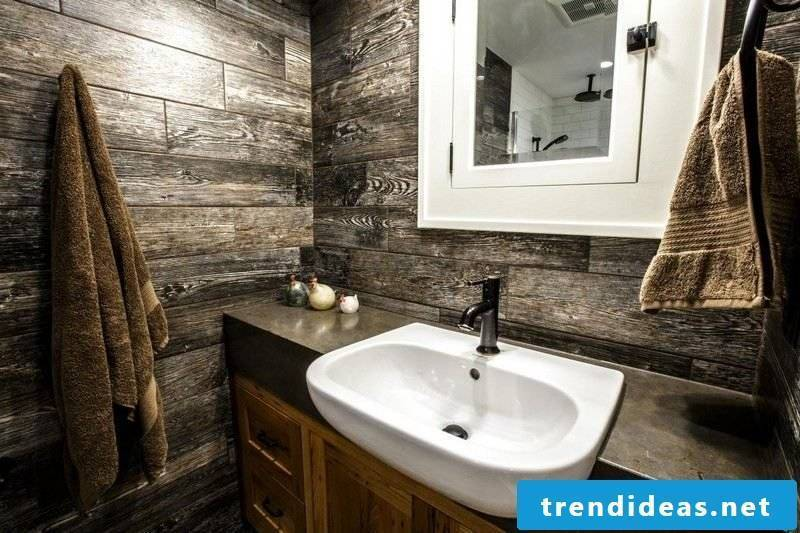 Luxury bathroom rustic style wallcovering in recycled wood