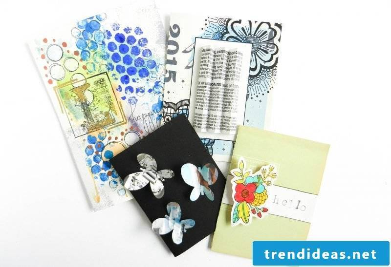 Recycling Crafting: Birthday cards are made from recycled materials
