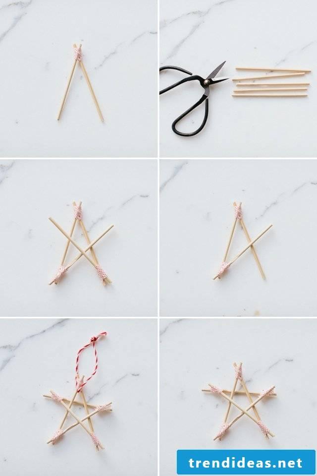 Christmas stars make wooden skewers