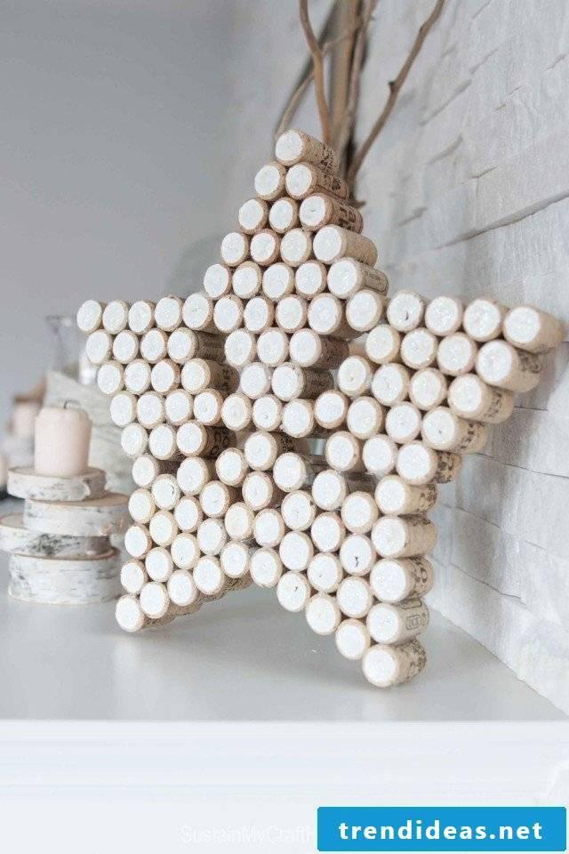 Christmas stars made of corks