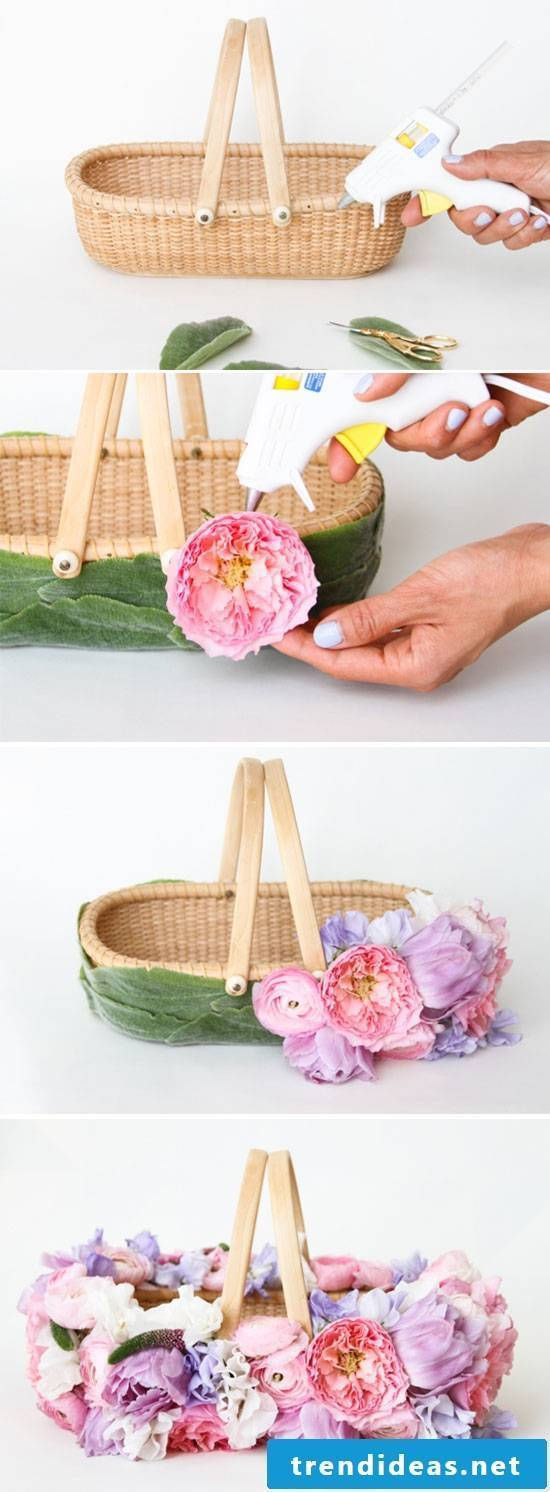 Easter basket tinker with flowers step by step instructions