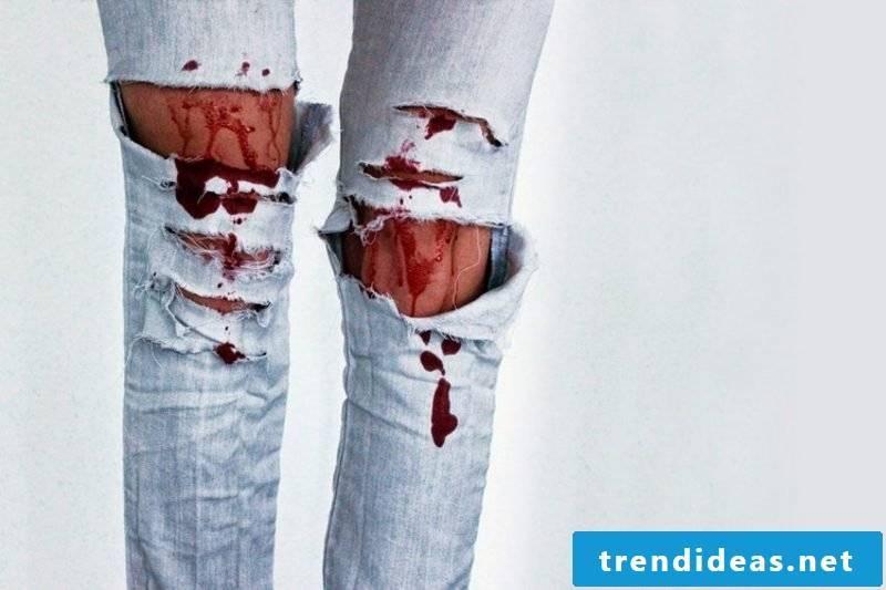 Artificial Blood Deco ideas torn jeans