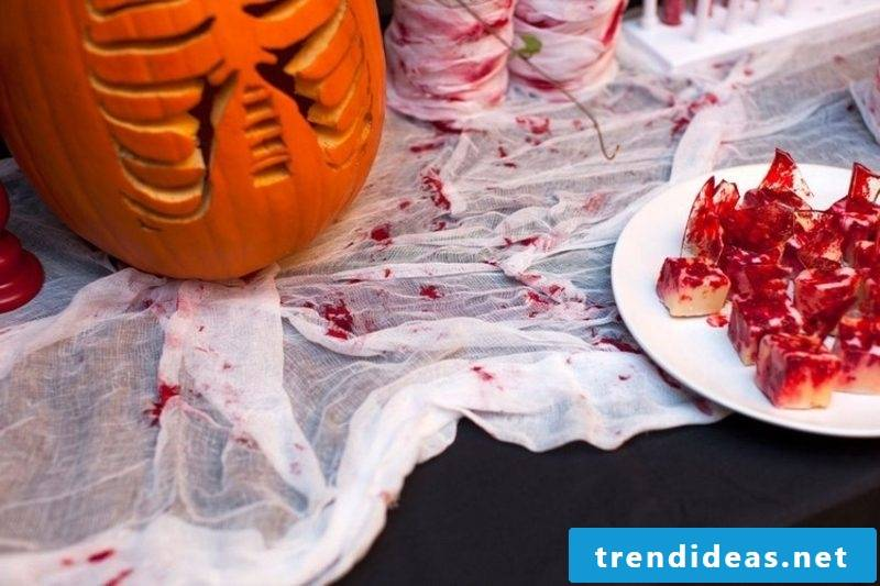 Tablecloth with fake bloodstains
