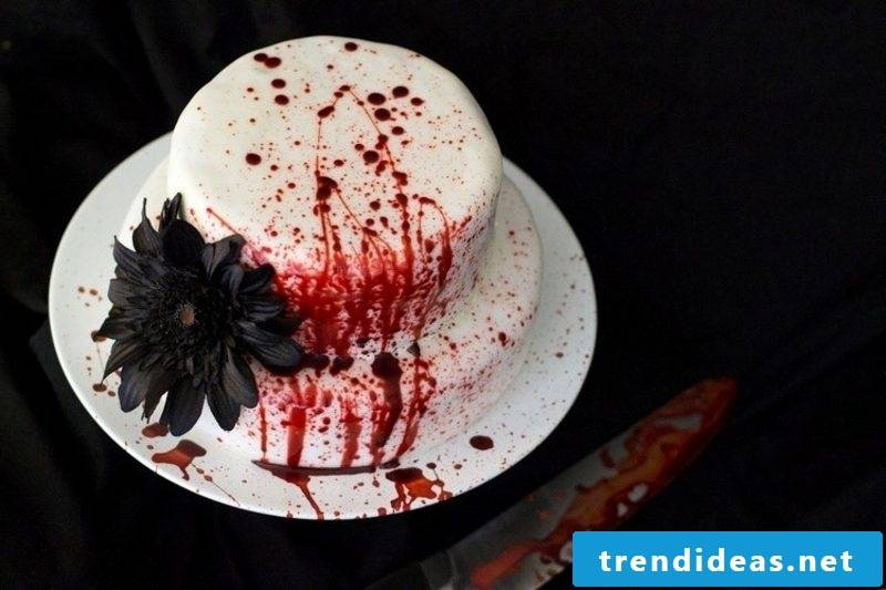 Cake for halloween artificial blood decoration
