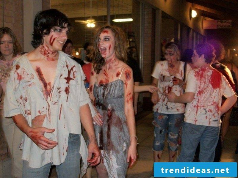Halloween costumes decorated with fake blood