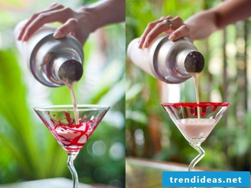 Decorate martini glasses with fake blood