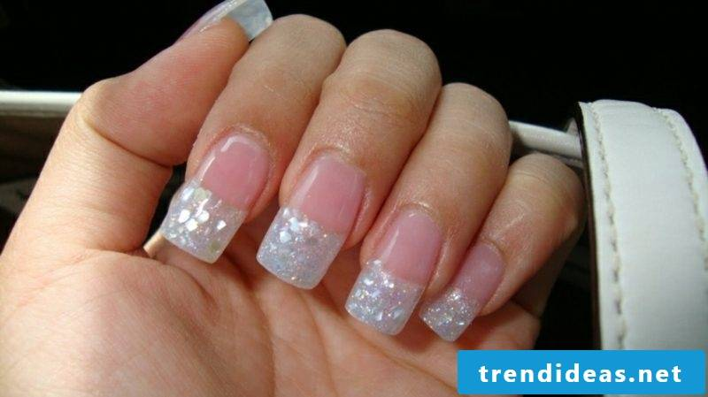 French nails with gel coat wide pointed glistening