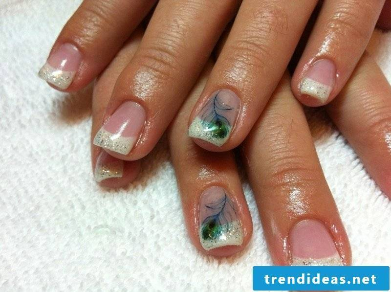 Gel nails natural French peacock feather