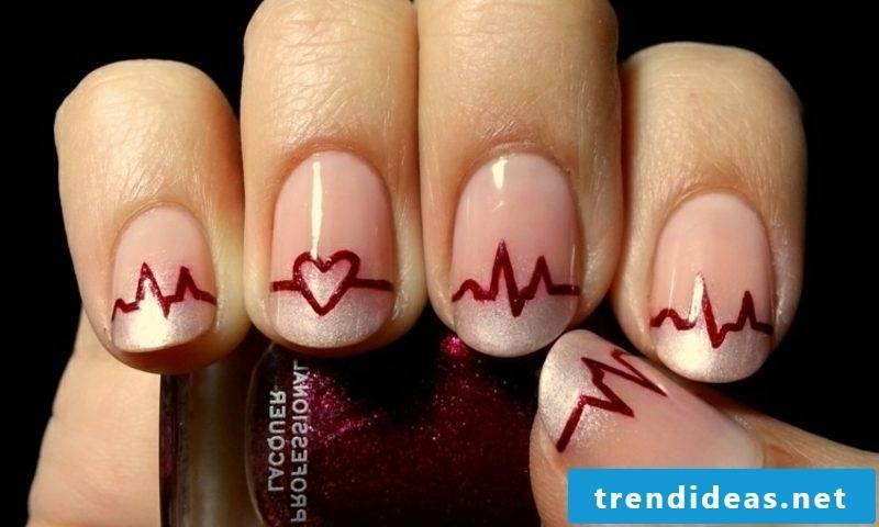 Nail art Spitz French Nails pattern original heartbeat
