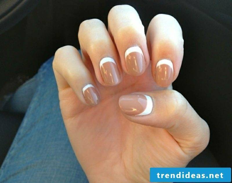 French Nails turned over Nude brown nail stencils