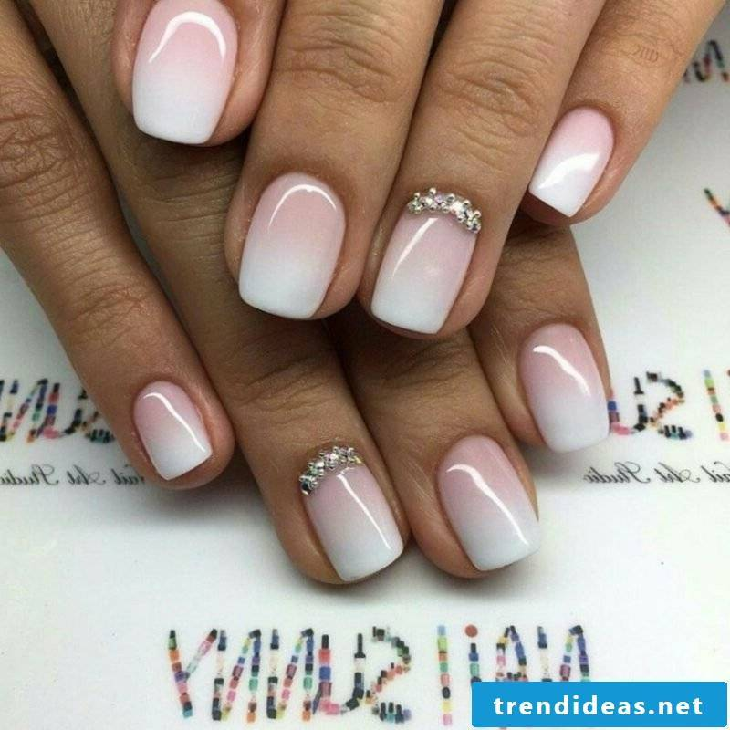 Gel nails white and pink Ombre effect French Nails