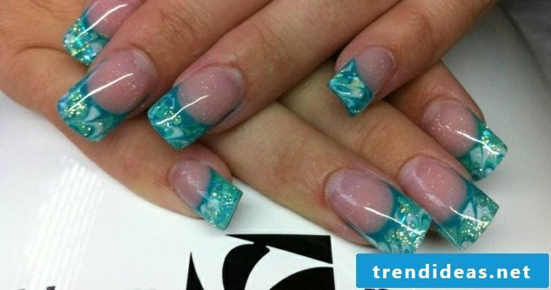 Nail art tips French Nails Gellack wide tips in turquoise blue