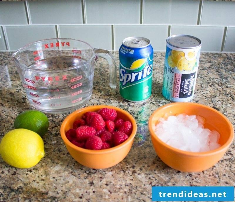 Making Pink Sparkling Lemonade by yourself - ingredients