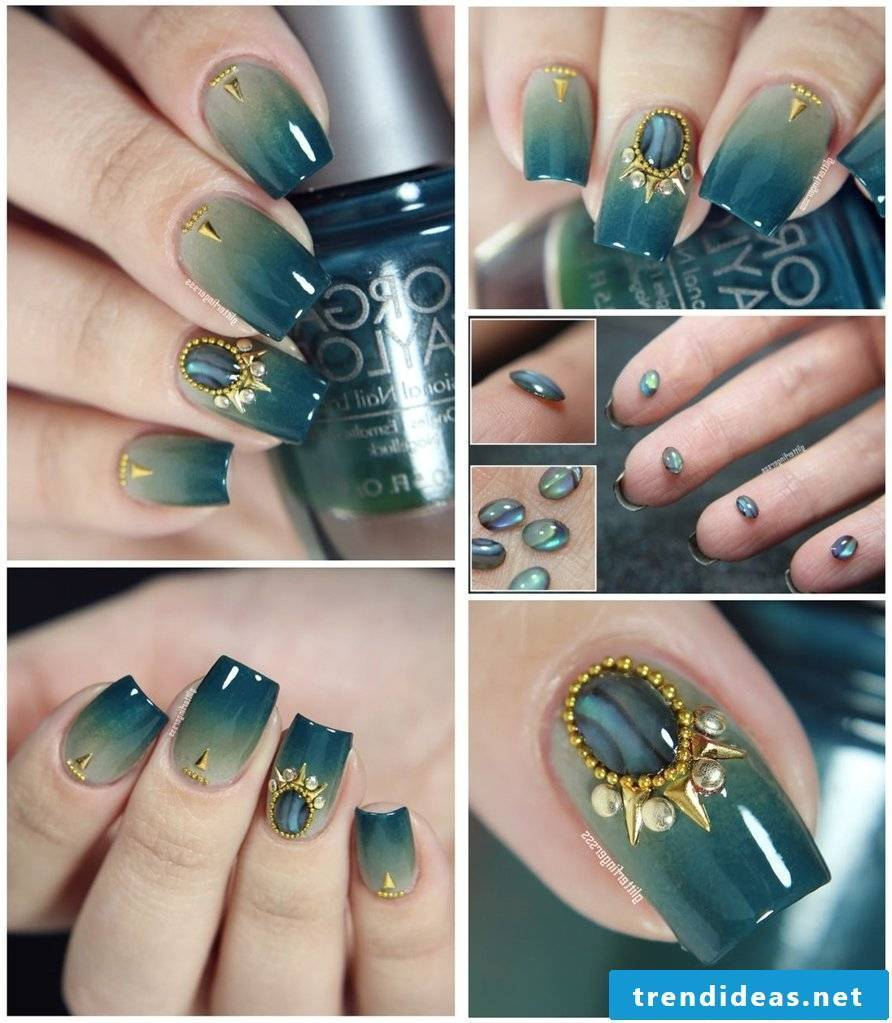 Beautiful fingernails decorated with gemstones