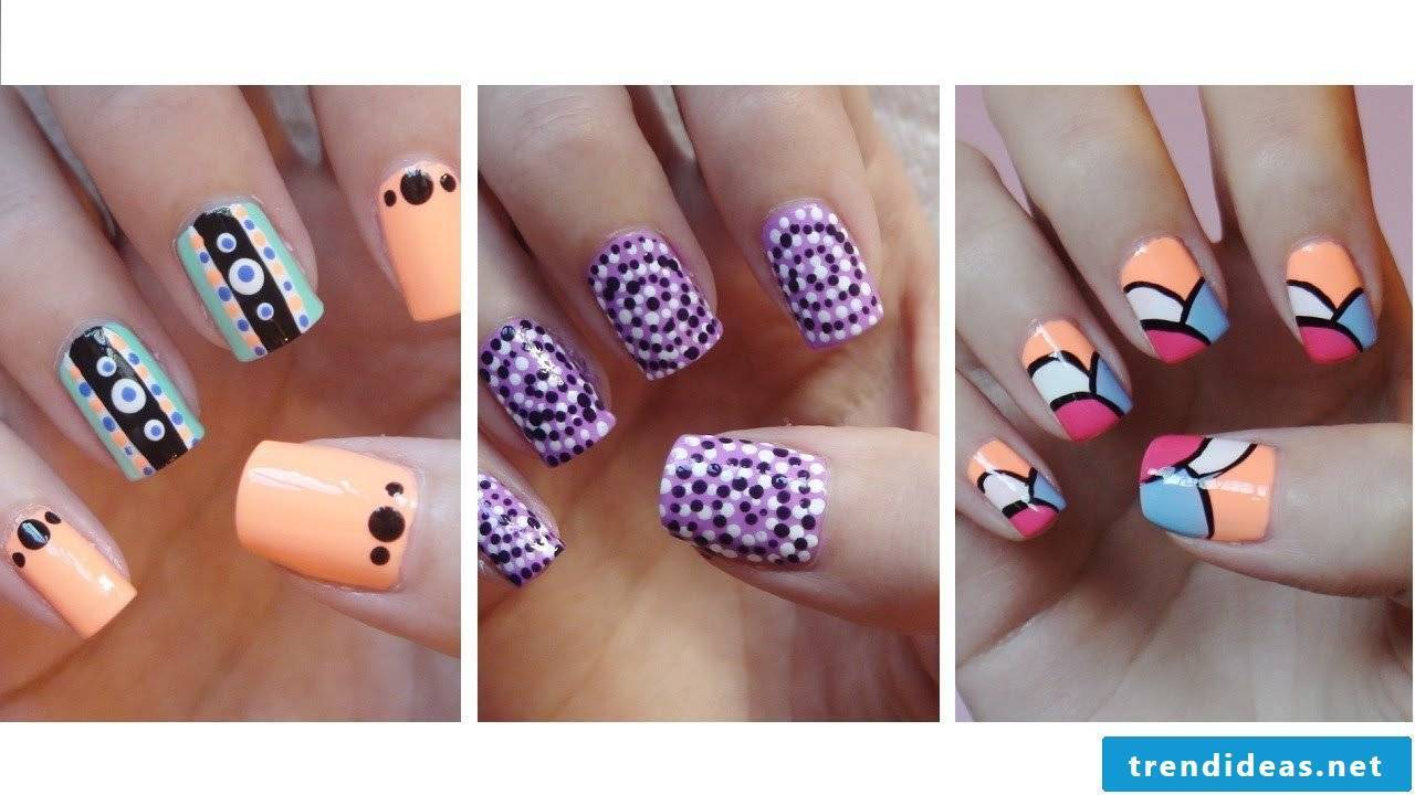 3 fingernail designs easy to make yourself